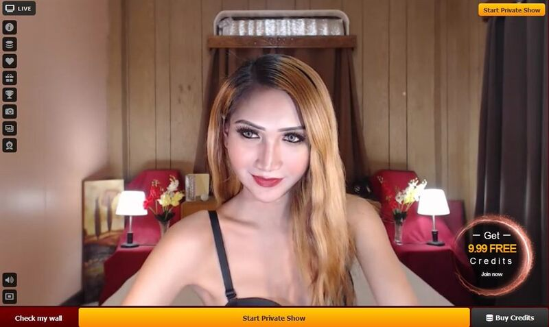 A stunning shemale with blonde hair smiles for the camera on LiveJasmin.com