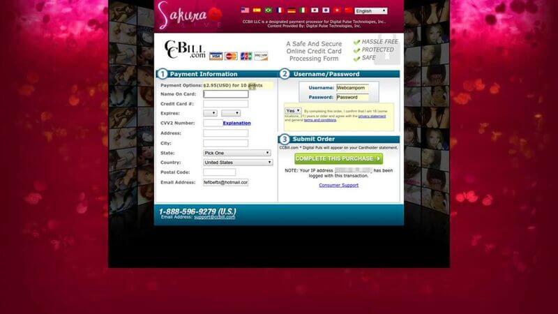 Payment at SakuraLive.com