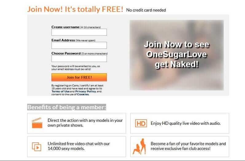 Easy registration on Cams.com