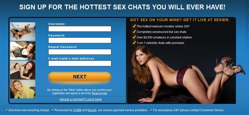 Sexier.com registration is quick and simple