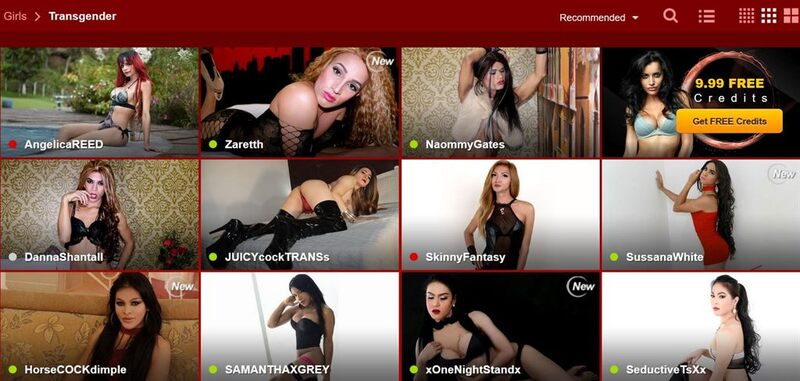 The shemale frontpage on LiveJasmin.com