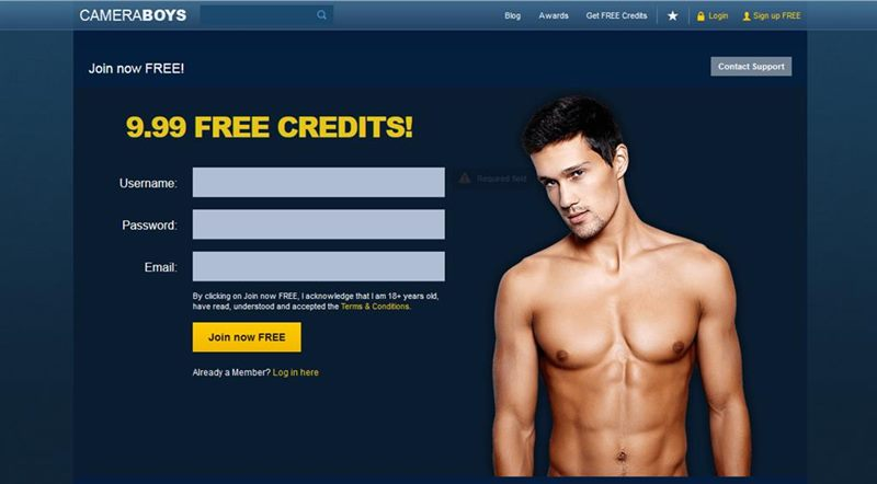 Register to this gay cam site and win free credits