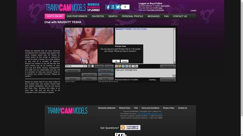 Only $1 a minute at TrannyCamModels!