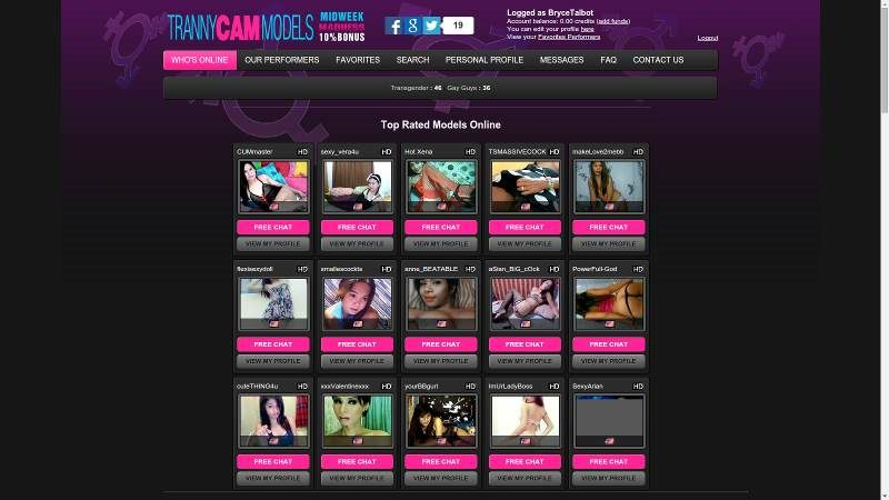 The TrannyCamModels.com site